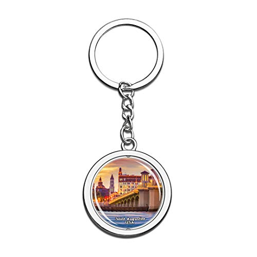 Keychain Saint Augustine United States USA US Keychain Crystal Spinning Round Stainless Steel Keychains Souvenir Key Chain Ring