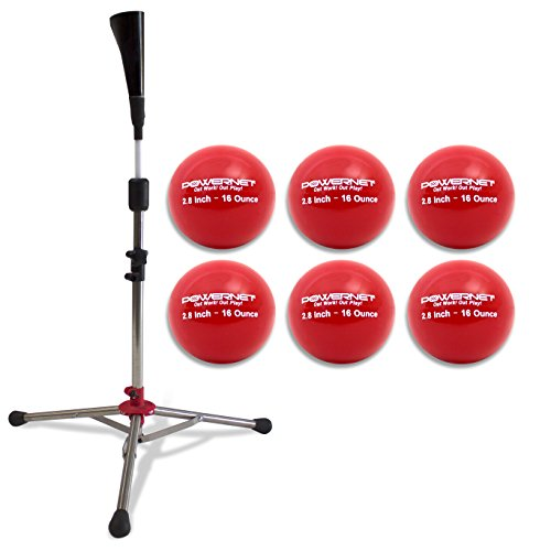 PowerNet Baseball Softball PRO Heavy Batting Tee (6.5 lbs) + Red Weighted Training Ball (6 Pack) Bundle | Hitting Drill Coaching Aid | Adjustable Height 27.5