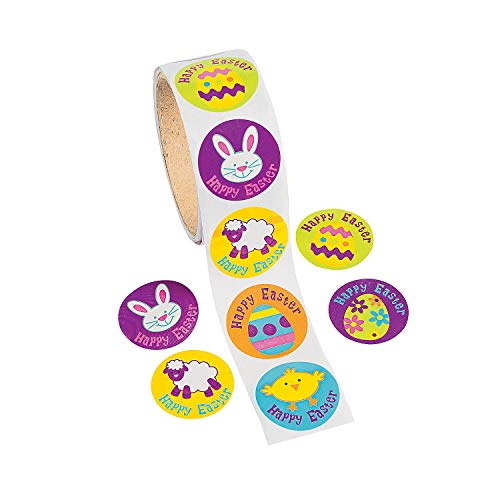 Fun Express - Easter Animal Stickers (100ct) for Easter - Stationery - Stickers - Stickers - Roll - Easter - 100 - Easter Oriental Basket