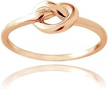 Hoops & Loops Sterling Silver High Polished Love Knot Ring, 3 Metal Options - All Sizes
