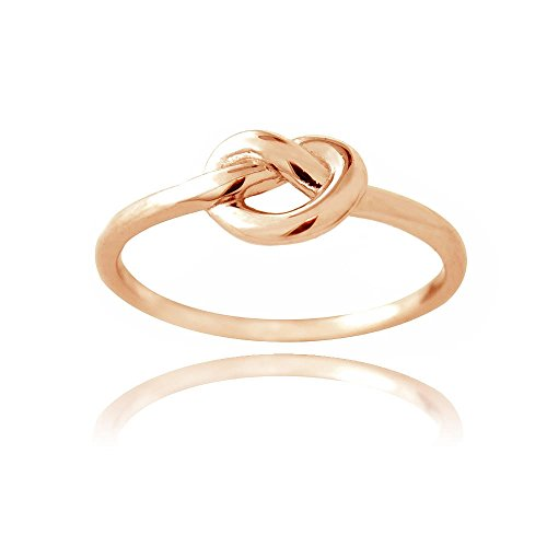 Hoops & Loops Flash Plated Rose Gold Sterling Silver Love Knot Ring Size 6 ()