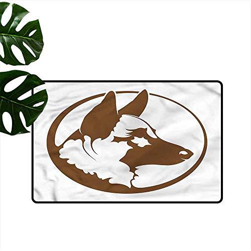 HOMEDD Funny Doormat,German Shepherd Circle Framed Dog,Customize Door mats for Home Mat,24