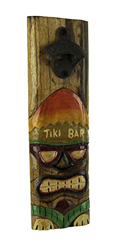 Tropical Polynesian Wall Decor - Tiki Mask Wood Plaque Wall Mounted Bottle Opener