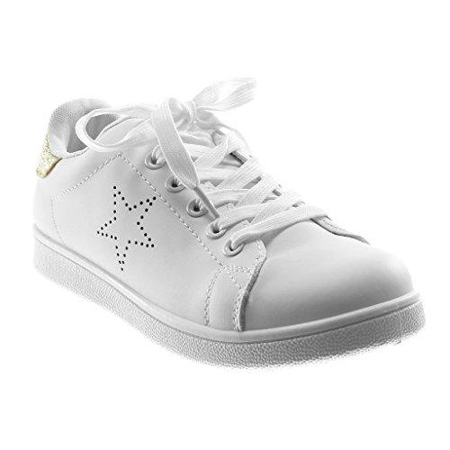 Angkorly Damen Schuhe Sneaker - Sporty Chic - Tennis - Glitzer - Perforiert - Stern Flache Ferse 2.5 cm Gold