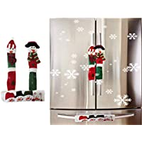 Refrigerator Door Handle Covers Christmas Decorations, Snowman Kitchen Appliance Handle Cover, Anti-Static Washable Handle Covers for Fridge Microwave Oven Door, Pack of 3