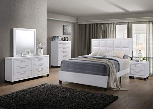 GTU Furniture Contemporary Styling White 5Pc Queen Bedroom Set(Q/D/M/N/C)