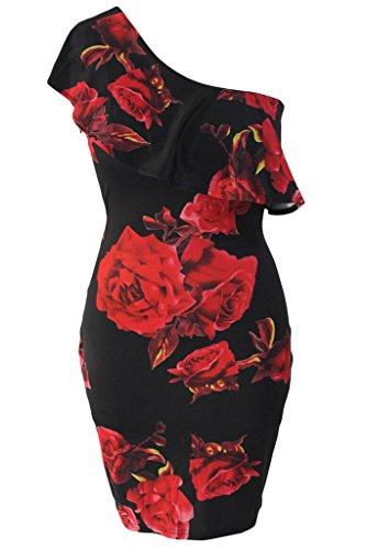 Tiksawon Womens Floral Ruffles Shoulder product image