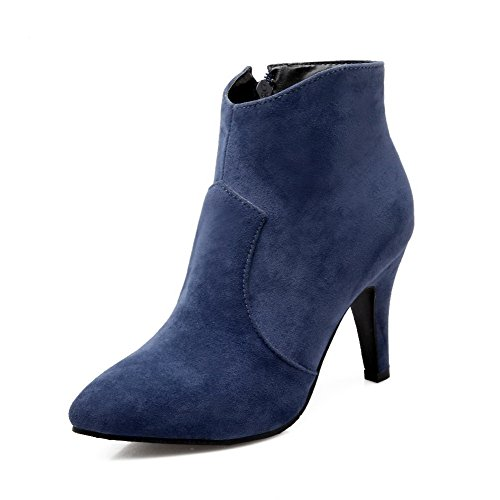 AgooLar Women's Imitated Suede Solid Zipper Pointed Closed Toe Spikes Stilettos Boots Blue UtxvR