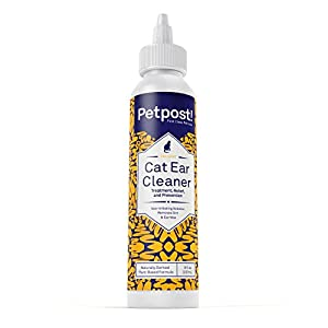 Petpost | Cat Ear Cleaner - Natural Coconut Oil Solution - Best Cleansing Remedy for Cat Ear Mites, Yeast and Ear Infection Causing Wax - Alcohol & Irritant Free - 8 Oz.