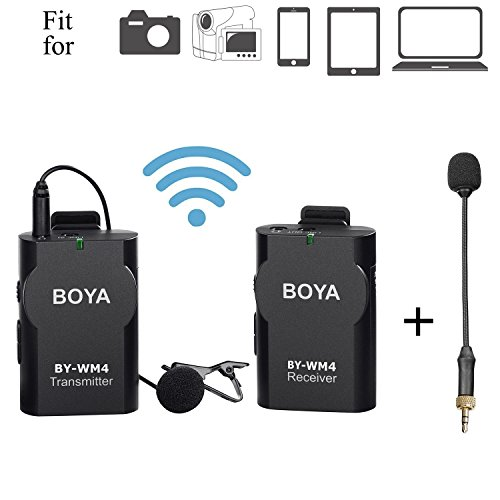Broadcast Cameras (BOYA BY-WM4 Lavalier Wireless Microphone System with Gooseneck Interview Mic BY-UM2 for IOS Smartphone iPad Tablet DSLR Camera Sony RX0 Camcorder Broadcast Podcast Youtube Lecture Classroom)