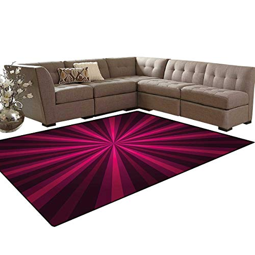 Hot Pink Kids Carpet Play-mat Rug Abstract Starburst Design Radial Lines Vibrant Colored Beams Futuristic Room Home Bedroom Carpet Floor Mat 6'6