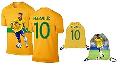 Neymar Jersey Style T-shirt Kids Neymar Jr Jersey Brazil T-shirt Gift Set Youth Sizes ? Premium Quality ? Lightweight Breathable Fabric ? Soccer Backpack Gift Packaging