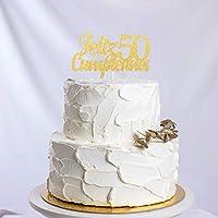 Feliz Cumpleaños 50th Birthday Cake Topper - Gold Glitter ...