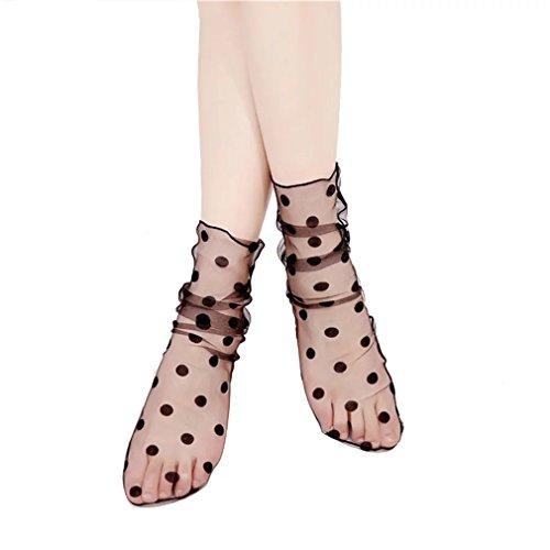 Nylon Lace Ruffle (PreSox Sexy Fishnet Seamless Nylon Mesh Hollow Out Lace Short Socks with Ruffle for Women)