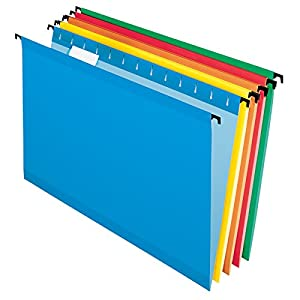 Pendaflex SureHook Reinforced Hanging Folders, Legal Size, Assorted Colors, 1/5 Cut, 20/BX (6153 1/5 Asst)