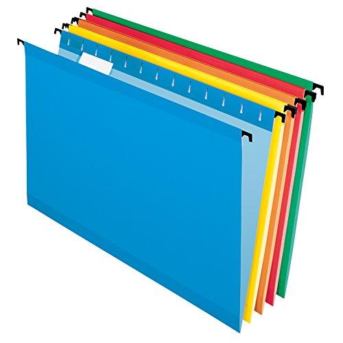Filing Legal System (Pendaflex SureHook Reinforced Hanging Folders, Legal Size, Assorted Colors, 1/5 Cut, 20/BX (6153 1/5 Asst))