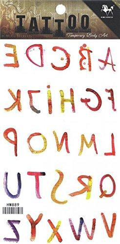 grashine larga Derniers Tatuajes temporaires Colorful 26 letras ...