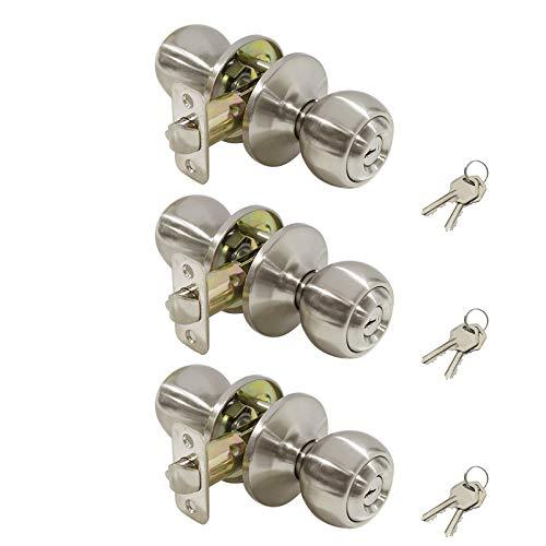 Lockset Privacy Ball (Ball Entry Knob Security Exterior Door Lockset in Satin Nickel,Keyed Alike, 3 Pack)