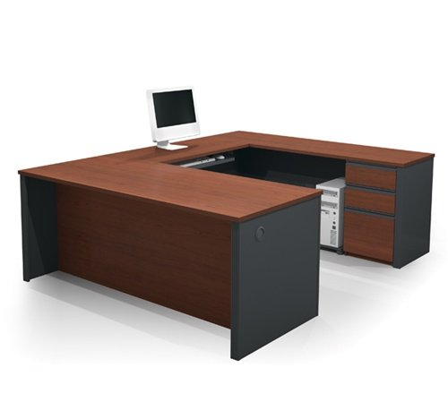 Prestige U-shaped Executive Computer Desk in Bordeaux & Slate