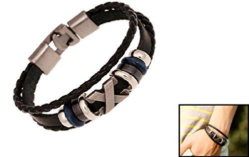 Leather Bracelet Men Trendy Woven Cross Charm Braided Black Cord Bangles Silver Tone (Cross Toggle Bracelet)
