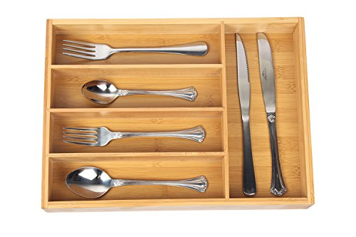 Organic Bamboo Wooden Cutlery Drawer Organizer with 5 compartments,Durable Utensil Tray,Nice and Antimicrobial Flatware Drawer Divers,Natural and Eco-friendly (Wooden Cutlery Tray)