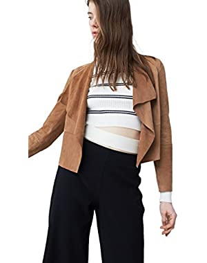 Mango Women's Lapels Leather Jacket