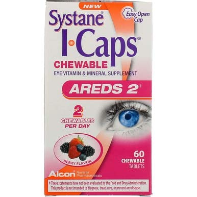 Systane I-Caps Eye Vitamin & Mineral Supplement AREDS 2 Chewable Tablets Berry Flavor - 60 ct, Pack of ()