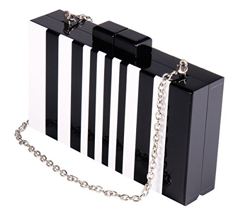 Square Acrylic Clutch Purse Piano Pattern Black and White Clutches Handbags for Women with Chain for Cocktail Banquet (Black Striped Handbag)