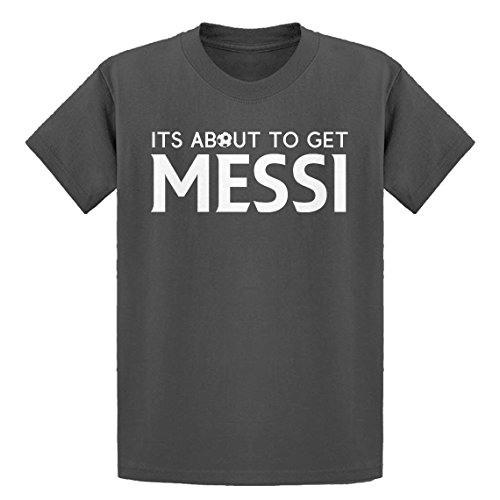 Indica Plateau Youth Its About to Get Messi Youth XL - (14) Charcoal Grey Kids T-Shirt (T-shirt Soccer About)