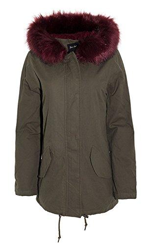 Toison 44 36 Khaki Dames L'hiver Doublé Burgundy Encapuchonné Vestes Nouveau Parka Fourrure Manteau Multicolore qHPwxECS
