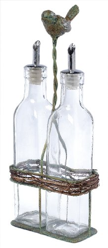 America Retold Oil and Vinegar Nest Caddy with Glass Bottles