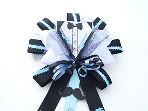 Tuxedo Little Man Baby Shower Themed Corsage for Mother to Be It#039s a Boy  Blue White and Light Blue Mustache