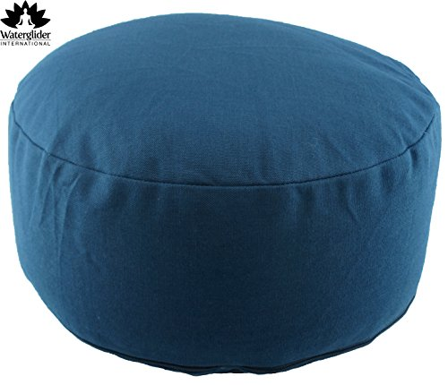 Zafu Organic Cotton Meditation Pillow with Buckwheat Hulls: Rondo Style with Liner- 6 Colors (Twilight, Standard 12 Inch)