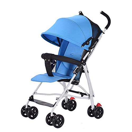 AWL-J Baby Stroller Lightweight Folding Shock Absorber Easy to Carry Removable Armrests One Button Car,Blue Combi Car Dolls Seat