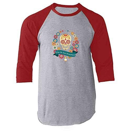 Dia de Los Muertos Sugar Skull Halloween Horror Red 2XL Raglan Baseball Tee Shirt ()