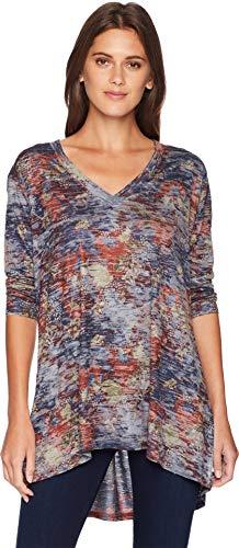 Burnout Top Tunic Floral (Nally & Millie Women's V-Neck Burnout Floral Print Top Multi Large)