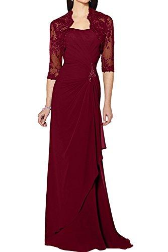 Spitze mit Abendkleider Navy Ivydressing Brautmutterkleider Elegant Weinrot Promkleider Lang Jacke Chiffon Damen 6U6qtHwf