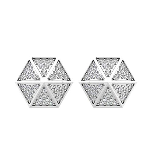 Ashne Jewels IGI certified 0.43 Carat Round-Shape Natural Diamond (G-H Color, I1-I2 Clarity) 14K White Gold Stud Earrings for -