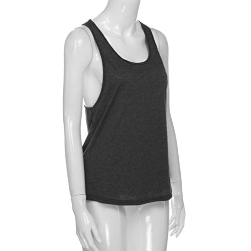 Summer Dragon868 Sport Sexy Dark Tank Running Grey Top Vest Women's Gym Loose Top Training 55TqR
