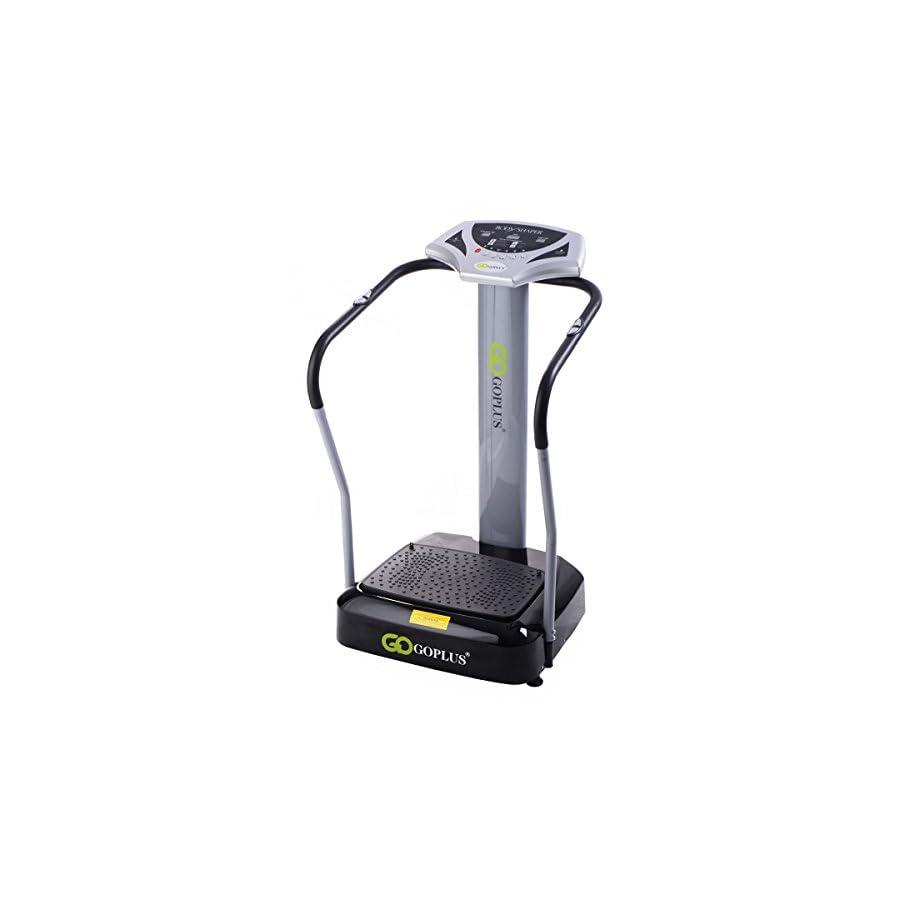Goplus 2000W Slim Full Body Vibration Platform Fitness Machine Crazy Fit Home Gym, Gray