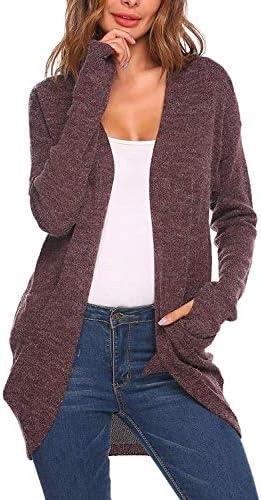 BOLAWOO Dames Vest Vest Gebreide Tops Outwear Jas Trui Jas Mode Merken Brei Losse Sheers Winter met Pocket