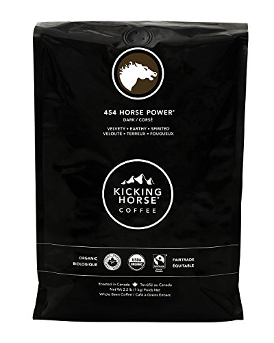 Kicking Horse Coffee, 454 Horse Power, Dark Roast, Whole Bean, 2.2 lb - Certified Organic, Fairtrade, Kosher Coffee