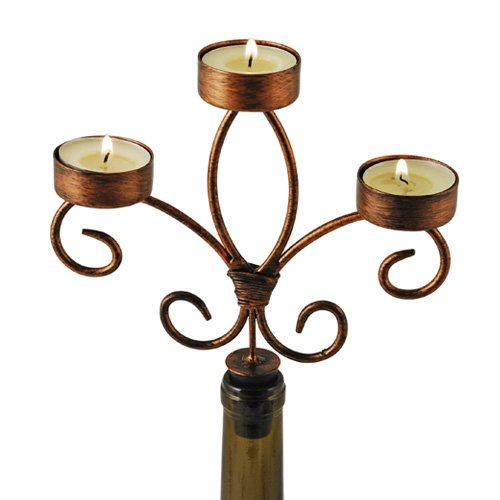Chateau Distressed Metal Finish Wine Bottle Candelabra by Twine