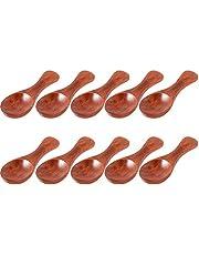 20Pcs Small Wooden Mini Spoons Condiment Sugar Salt Coffee Tea Leaf Milk Powder Scale Teaspoons Measuring Scoop Seasoning Spoon (Dark Wood)