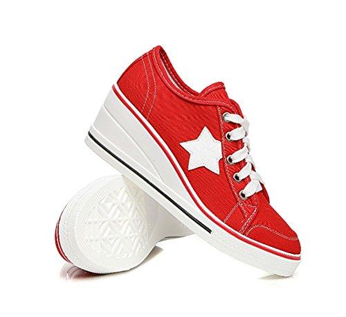 Rouge Imprimé Toile 41 Etoile 43 Sneakers 42 En Grande Mode Chaussure Basse Compensées Baskets Mauea Femme 40 Confort Taille Plateforme aE1YqHEw