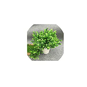 Brittany-Breanna 1Pcs(1Pcs=7 Branch) Bouquet Fake Green Plant Fake Milan Grass with Leaf Setting Wall Decoration 37