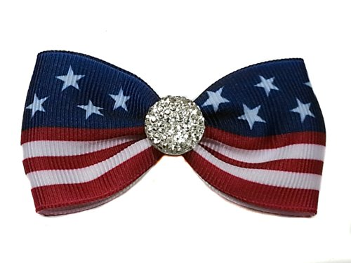 Patriotic Rhinestone (Patriotic Fourth of July Rhinestone Mini Hair Bow--for Baby Girl, for Girls, for Adult--made in the Usa--headband or Alligator Clip (Large Blue Headband 18