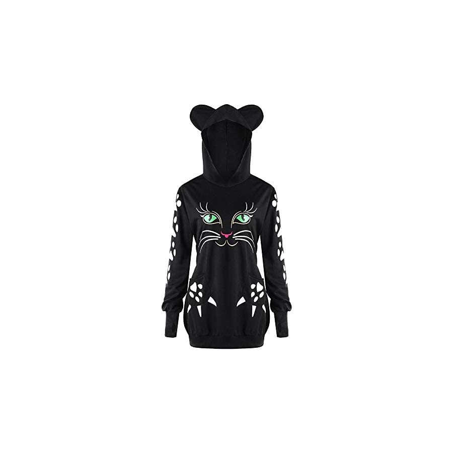 GOVOW Halloween Sweater Shirt for Women Cat Print Hoodie with Ears Hooded Pullover Tops Blouse