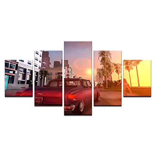 Fbhfbh Unframed 5 Pieces Grand Theft Auto III Wall Art Canvas Print Poster Game Hot GTA 3 Images for Home Decoration Painting -4x6/8/10inch,with Frame -