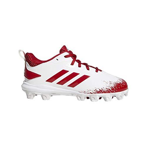adidas Unisex-Kid's Adizero Afterburner V Baseball Shoe, White/Power red/Grey, 1.5 M US Little Kid